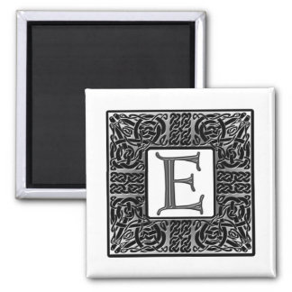 """Silver Celtic """"E"""" Monogram Fridge Magnet"""