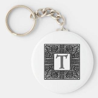 "Silver Celtic ""T"" Monogram Basic Round Button Key Ring"