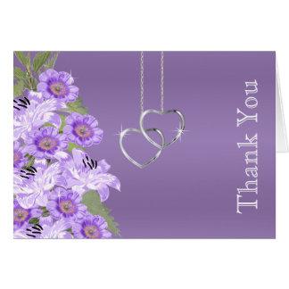 Silver Chain Hearts on Purple Satin Card