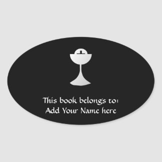 Silver Chalice and Host Oval Sticker