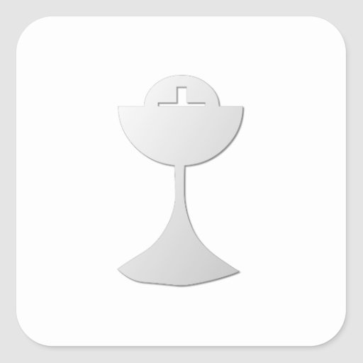 Silver Chalice and Host Square Stickers