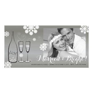 Silver Champagne Cheers Wedding Holiday Greetings Photo Cards