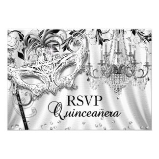 Silver Chandelier Masquerade Quinceanera RSVP Personalized Invitations