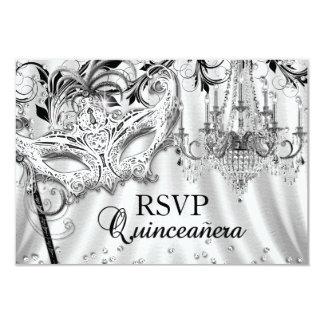 "Silver Chandelier Masquerade Quinceanera RSVP 3.5"" X 5"" Invitation Card"