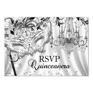Silver Chandelier Masquerade Quinceanera RSVP 9 Cm X 13 Cm Invitation Card