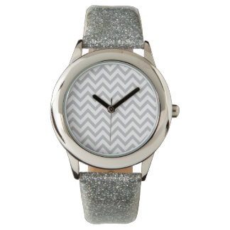 Silver Chevron Girl's Watch