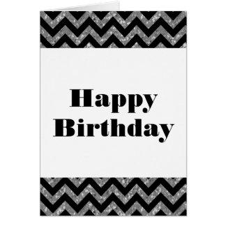Silver Chevron Glitter Happy Birthday Card