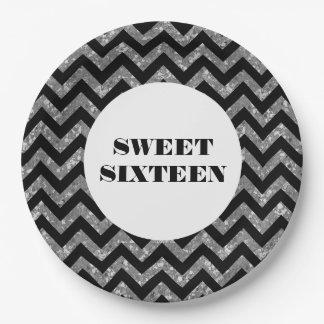 Silver Chevron Glitter Sweet Sixteen Paper Plates