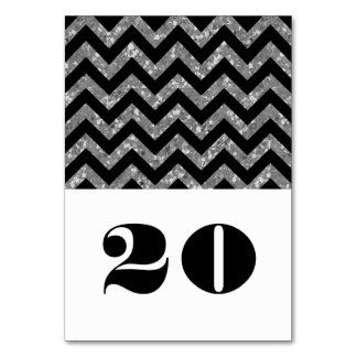 Silver Chevron Glitter Table Card