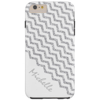 Silver Chevron White Personalized Tough iPhone 6 Plus Case
