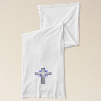 Silver Christian Cross Blue White Design Scarf