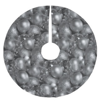 Silver Christmas Baubles Brushed Polyester Tree Skirt