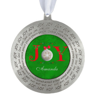Silver Christmas Ornament Red Green JOY Round Pewter Ornament
