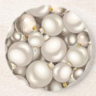 silver christmas ornaments coaster