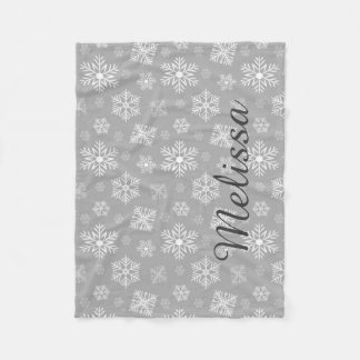 Silver Christmas Snowflakes Personalized Name Fleece Blanket
