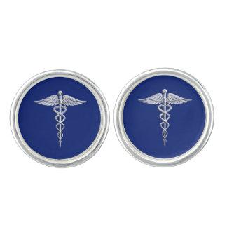 Silver Chrome Caduceus Medical Symbol on Navy Blue Cufflinks