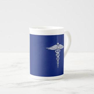 Silver Chrome Caduceus Medical Symbol on Navy Blue Tea Cup