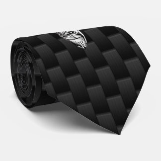 Silver Chrome Deer on Carbon Fiber Style Print Tie