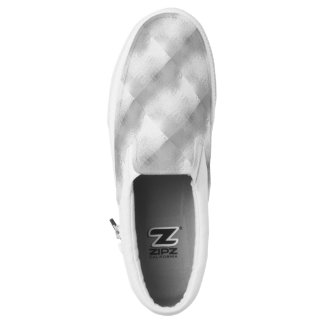 Silver Chrome Gray White Checkered Slip On Sneaker Printed Shoes