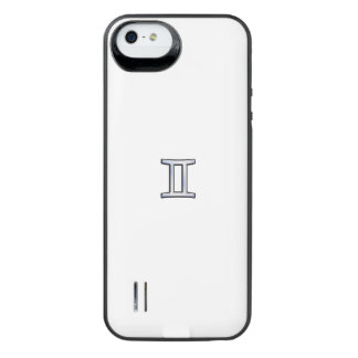 Silver Chrome like Gemini Zodiac Sign on Hevelius iPhone SE/5/5s Battery Case