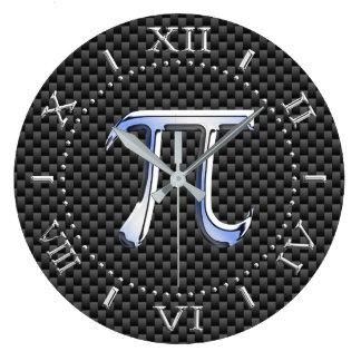 Silver Chrome Like Pi Symbol on Carbon Dial on a Clocks