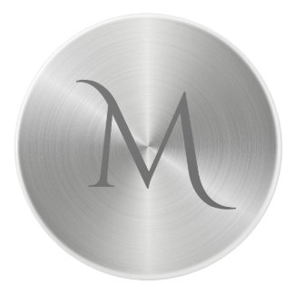 Silver Chrome Metal Monogram Drawer Pull Knob