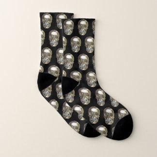 Silver Chrome Skull Socks