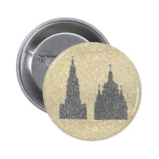 Silver Churches 6 Cm Round Badge