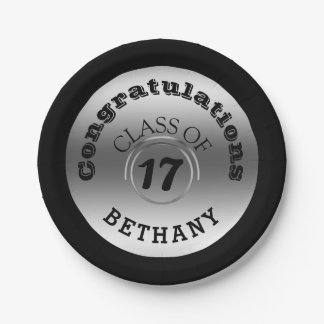 Silver Class of 2017 Personalized Graduation Party Paper Plate