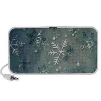 Silver cloth snowflakes laptop speaker