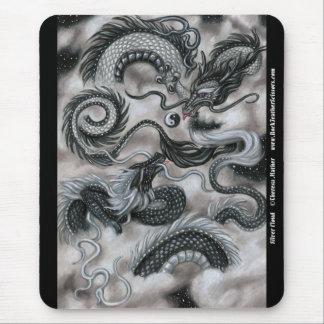 Silver Cloud Dragons Mousepad