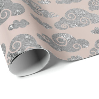 Silver Clouds Pink Rose Gold Blush Ballet Wrapping Paper