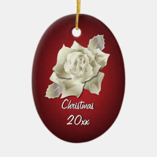 Silver Color Rose on Dark Red Personalized Holiday Ceramic Ornament