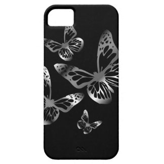 Silver colored butterflies flying iPhone 5 case