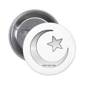 Silver Colored Star and Crescent Symbol Pinback Button