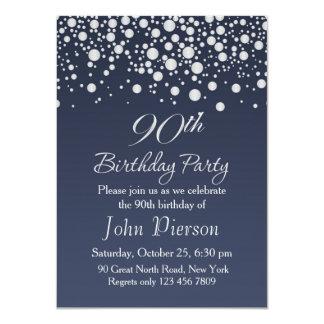Silver confetti 90th Birthday Party Invitation