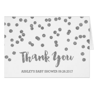 Silver Confetti Baby Shower Thank You Card