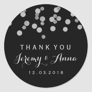 Silver Confetti Black Thank you  sticker