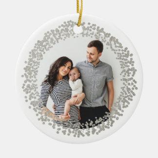 Silver confetti circle photo ornament faux foil