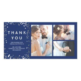 Silver Confetti Elegant Navy Wedding Thank You Card