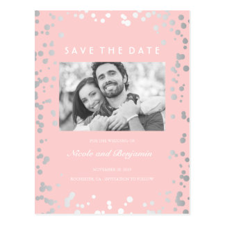 Silver Confetti Elegant Pink Photo Save the Date Postcard