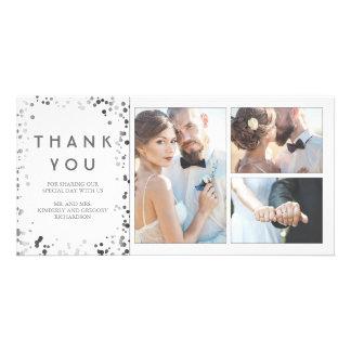 Silver Confetti Elegant White Wedding Thank You Card