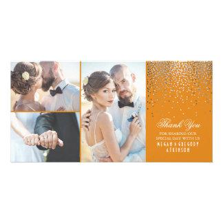 Silver Confetti Glamour Orange Wedding Thank You Photo Greeting Card