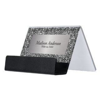 Silver Confetti Glitter Print | DIY Text Desk Business Card Holder