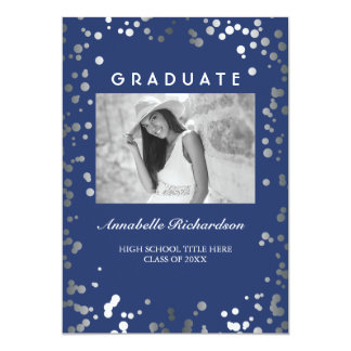 Silver Confetti Navy Blue Elegant Photo Graduation Card