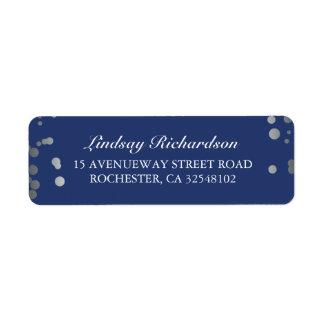 Silver Confetti Navy Elegant Wedding Return Address Label