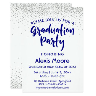 Silver Confetti & Navy Typography Grad Party, 2 Card