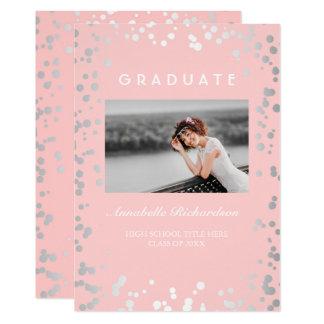 Silver Confetti Pink Elegant Photo Graduation Card