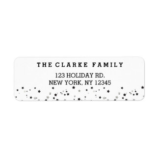 Silver Confetti Stars Holiday Return Address Label