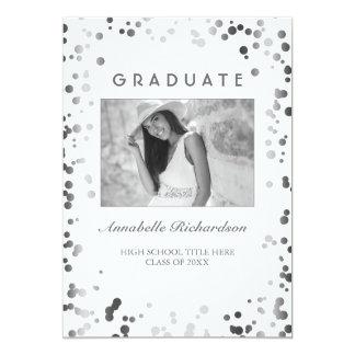 Silver Confetti White Elegant Photo Graduation Card